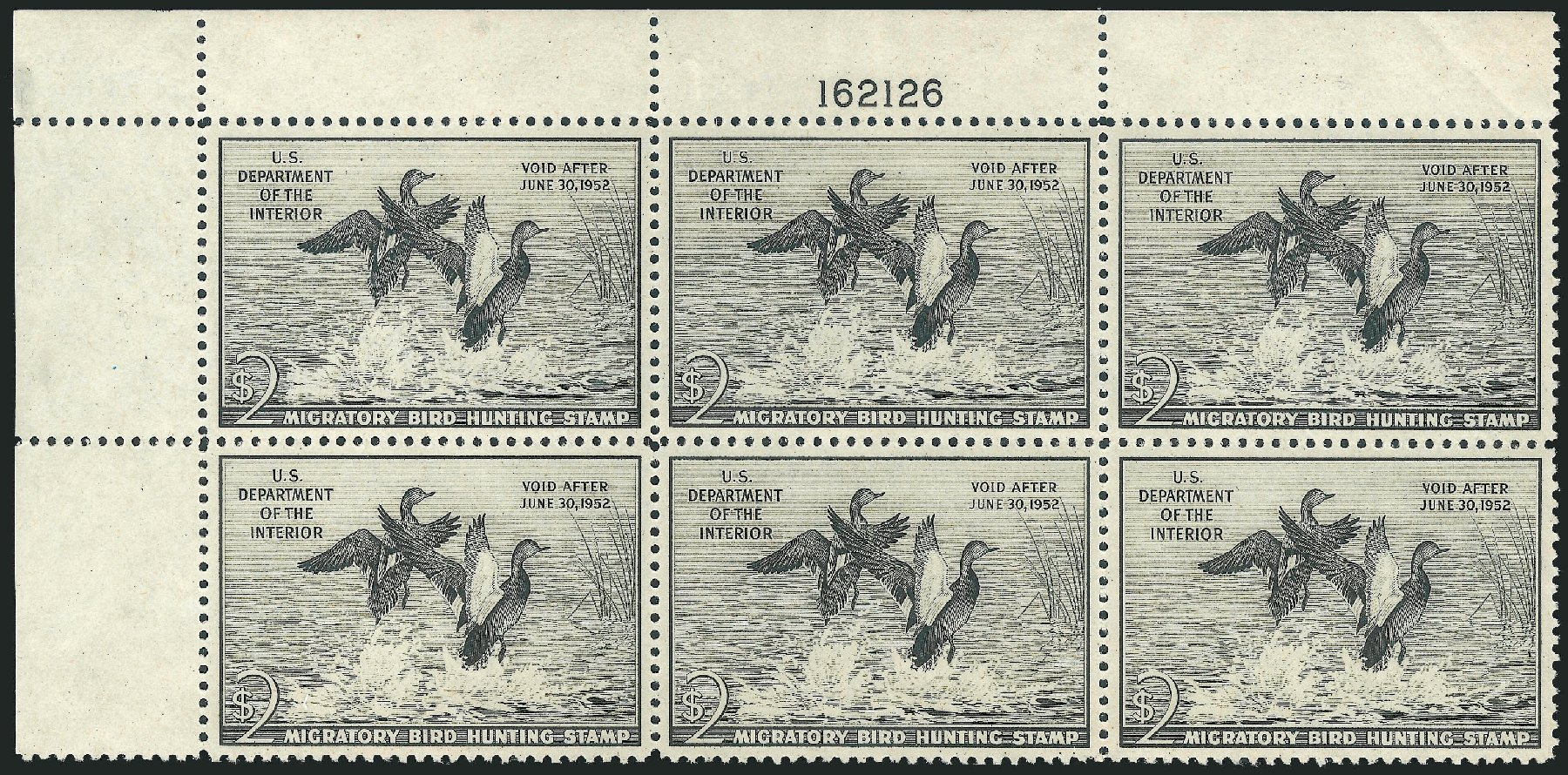 Costs of US Stamp Scott #RW18: US$2.00 1951 Federal Duck Hunting. Robert Siegel Auction Galleries, Nov 2013, Sale 1061, Lot 4522