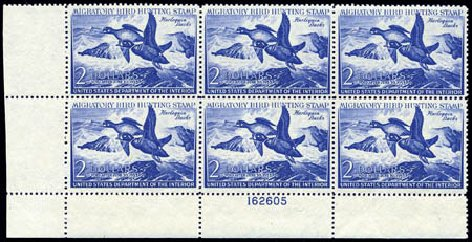 US Stamps Value Scott Catalogue RW19: 1952 US$2.00 Federal Duck Hunting. Harmer-Schau Auction Galleries, Aug 2011, Sale 90, Lot 2055