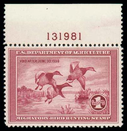 Price of US Stamps Scott Catalogue RW2: 1935 US$1.00 Federal Duck Hunting. Matthew Bennett International, Oct 2007, Sale 322, Lot 2337