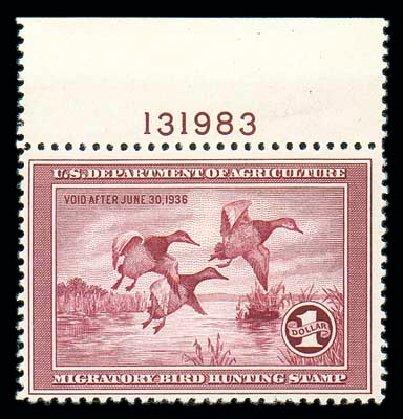 Costs of US Stamps Scott Catalog RW2: 1935 US$1.00 Federal Duck Hunting. Matthew Bennett International, Dec 2007, Sale 325, Lot 2697