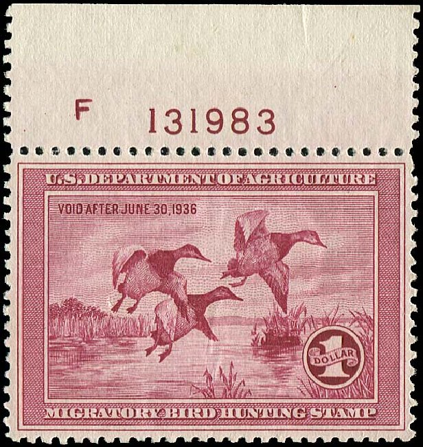 Cost of US Stamp Scott Cat. # RW2 - 1935 US$1.00 Federal Duck Hunting. Regency-Superior, Jan 2015, Sale 109, Lot 1867