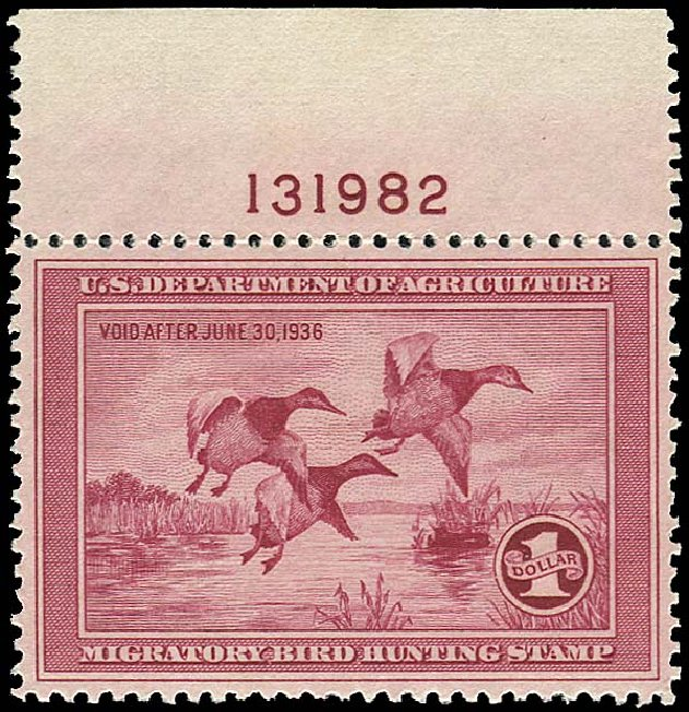 US Stamps Value Scott Cat. RW2 - 1935 US$1.00 Federal Duck Hunting. Regency-Superior, Aug 2015, Sale 112, Lot 1637