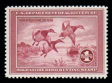 Prices of US Stamp Scott Catalogue RW2 - 1935 US$1.00 Federal Duck Hunting. Matthew Bennett International, Dec 2007, Sale 325, Lot 2698