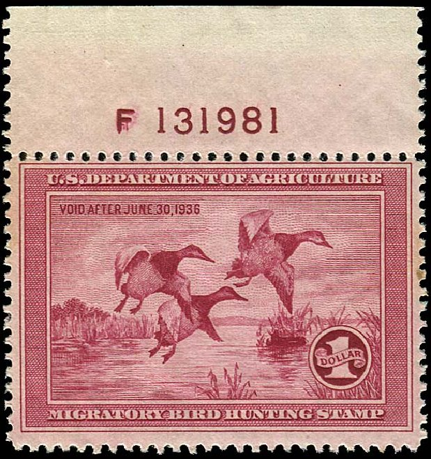 Value of US Stamps Scott RW2: 1935 US$1.00 Federal Duck Hunting. Regency-Superior, Aug 2015, Sale 112, Lot 1638