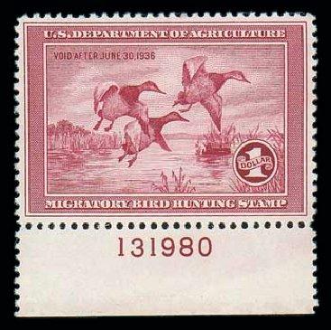 US Stamps Value Scott Catalogue RW2: 1935 US$1.00 Federal Duck Hunting. Matthew Bennett International, Dec 2007, Sale 325, Lot 2699
