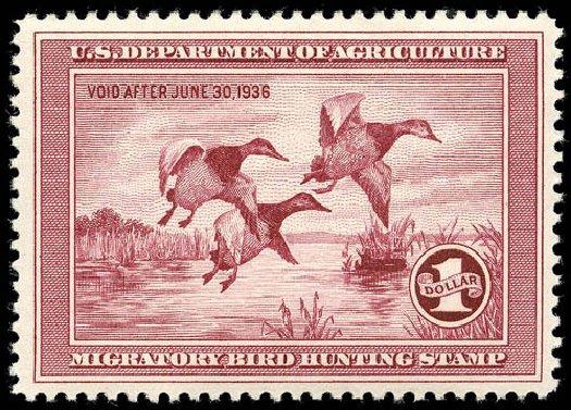 Cost of US Stamps Scott Catalog #RW2: 1935 US$1.00 Federal Duck Hunting. Matthew Bennett International, Apr 2008, Sale 326, Lot 909