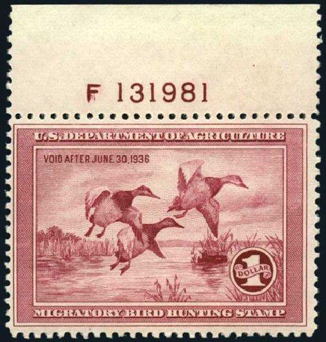 US Stamp Price Scott # RW2 - 1935 US$1.00 Federal Duck Hunting. Harmer-Schau Auction Galleries, Apr 2008, Sale 77, Lot 159