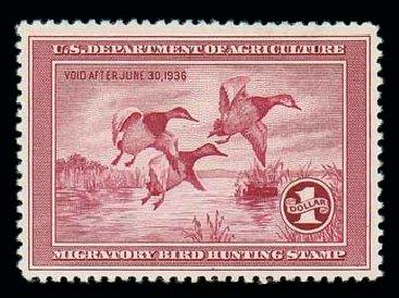 US Stamp Price Scott Catalog #RW2: US$1.00 1935 Federal Duck Hunting. Matthew Bennett International, Dec 2007, Sale 325, Lot 2700