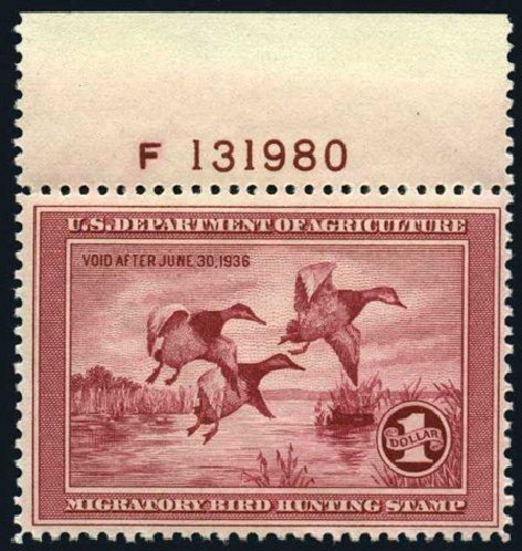 US Stamp Value Scott # RW2: US$1.00 1935 Federal Duck Hunting. Harmer-Schau Auction Galleries, Apr 2008, Sale 77, Lot 160