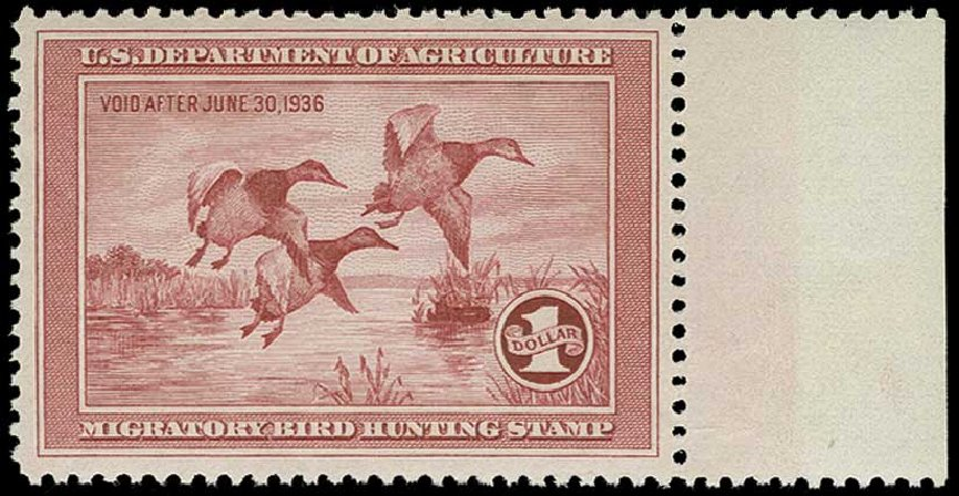 US Stamps Values Scott # RW2: US$1.00 1935 Federal Duck Hunting. H.R. Harmer, Jun 2015, Sale 3007, Lot 3590