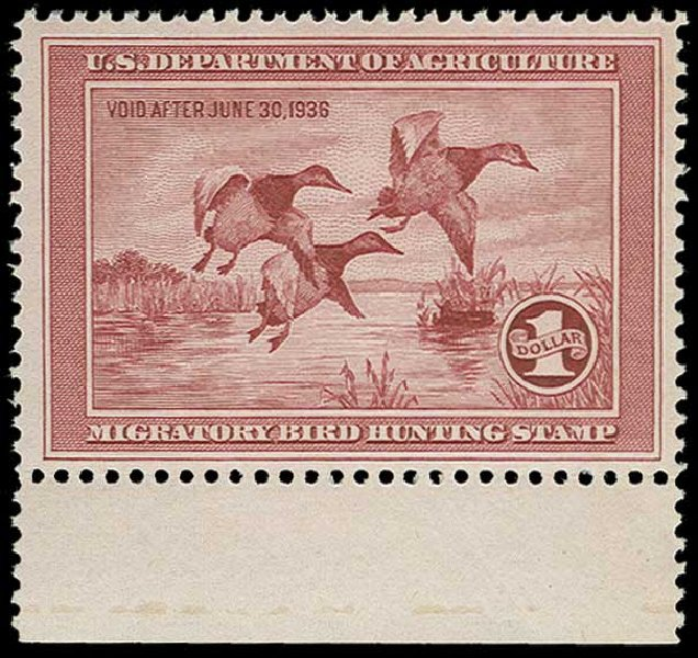 Price of US Stamp Scott Cat. #RW2: US$1.00 1935 Federal Duck Hunting. H.R. Harmer, Jun 2015, Sale 3007, Lot 3591