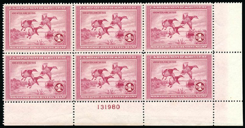 US Stamps Values Scott Catalog RW2: 1935 US$1.00 Federal Duck Hunting. Schuyler J. Rumsey Philatelic Auctions, Apr 2015, Sale 60, Lot 3011