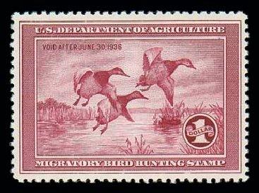 US Stamps Value Scott Catalogue RW2: US$1.00 1935 Federal Duck Hunting. Matthew Bennett International, Dec 2007, Sale 325, Lot 2694