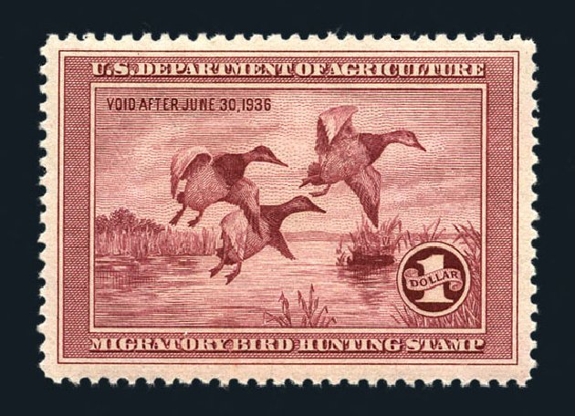 US Stamps Price Scott Cat. RW2 - US$1.00 1935 Federal Duck Hunting. Harmer-Schau Auction Galleries, Aug 2015, Sale 106, Lot 2234