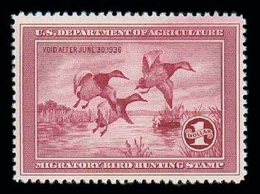 US Stamp Value Scott Cat. RW2: US$1.00 1935 Federal Duck Hunting. Matthew Bennett International, Dec 2007, Sale 325, Lot 2695