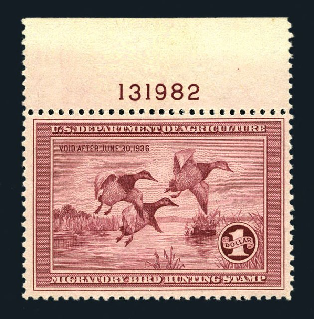 US Stamps Values Scott RW2: 1935 US$1.00 Federal Duck Hunting. Harmer-Schau Auction Galleries, Aug 2015, Sale 106, Lot 2235