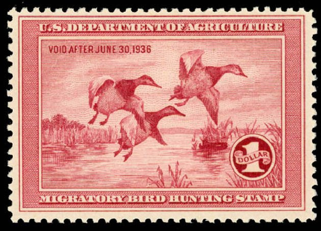 US Stamp Prices Scott Catalog # RW2: US$1.00 1935 Federal Duck Hunting. Daniel Kelleher Auctions, Aug 2015, Sale 672, Lot 3105