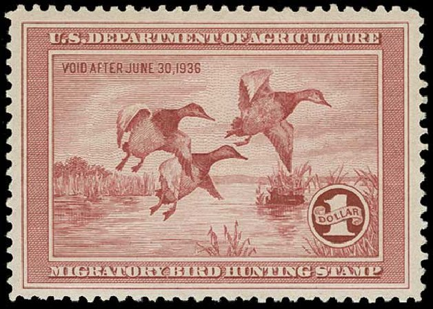 Cost of US Stamps Scott Cat. # RW2: 1935 US$1.00 Federal Duck Hunting. H.R. Harmer, Jun 2015, Sale 3007, Lot 3592