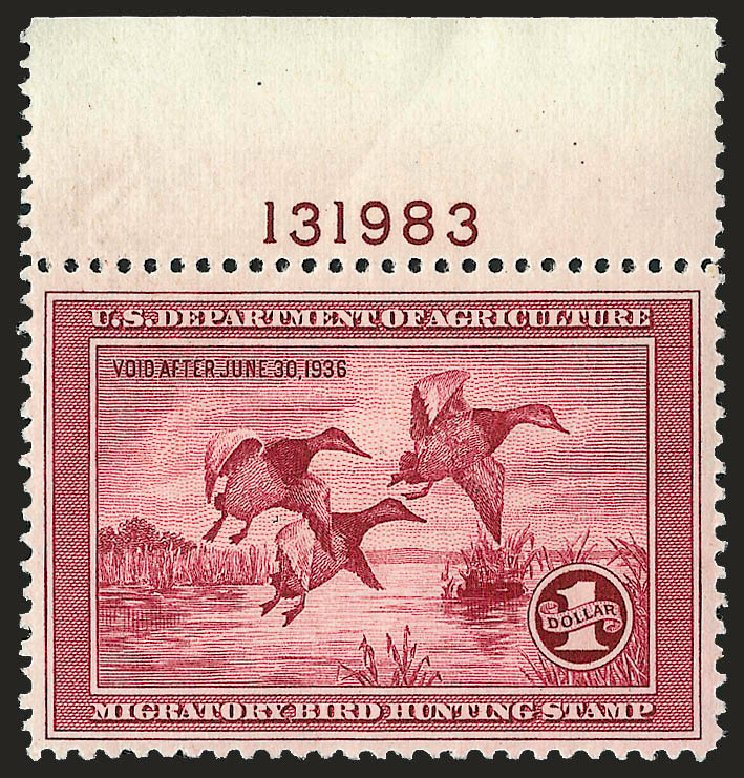 US Stamps Prices Scott Cat. #RW2: US$1.00 1935 Federal Duck Hunting. Robert Siegel Auction Galleries, Sep 2008, Sale 962, Lot 3062