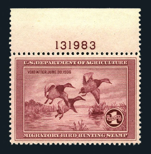 Prices of US Stamps Scott Catalog #RW2 - 1935 US$1.00 Federal Duck Hunting. Harmer-Schau Auction Galleries, Aug 2015, Sale 106, Lot 2233