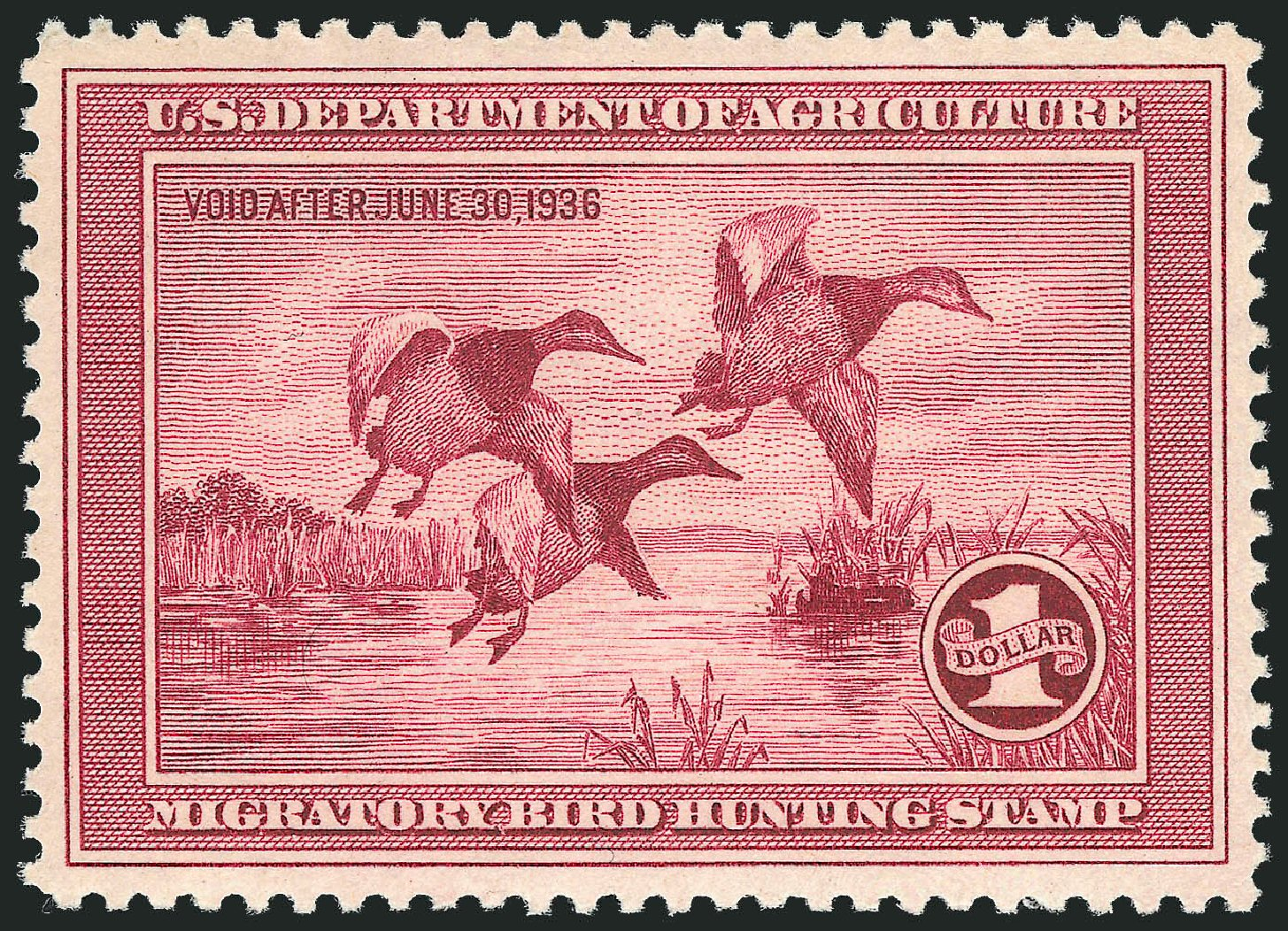 Prices of US Stamp Scott Catalogue #RW2 - US$1.00 1935 Federal Duck Hunting. Robert Siegel Auction Galleries, Feb 2015, Sale 1092, Lot 1533