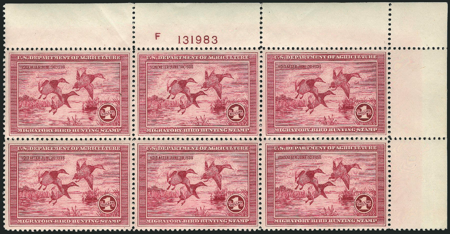 Costs of US Stamp Scott Cat. #RW2: US$1.00 1935 Federal Duck Hunting. Robert Siegel Auction Galleries, Apr 2015, Sale 1096, Lot 1033