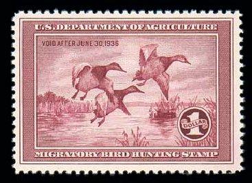 Cost of US Stamps Scott # RW2: US$1.00 1935 Federal Duck Hunting. Matthew Bennett International, Dec 2007, Sale 325, Lot 2696