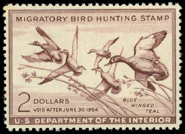 US Stamp Values Scott #RW20 - US$2.00 1953 Federal Duck Hunting. Daniel Kelleher Auctions, May 2014, Sale 653, Lot 2357