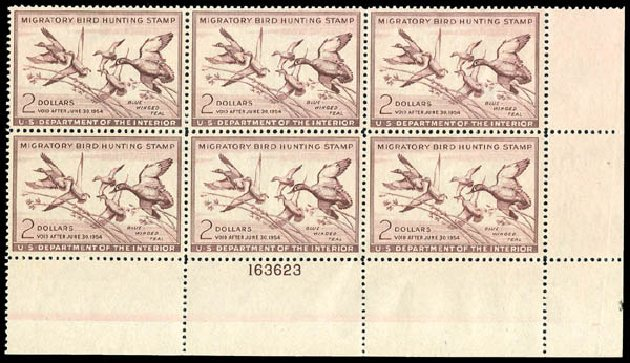 US Stamps Prices Scott Catalog RW20: US$2.00 1953 Federal Duck Hunting. Matthew Bennett International, Dec 2008, Sale 330, Lot 2069