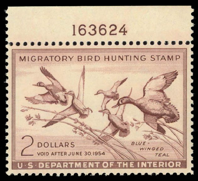 Price of US Stamp Scott Catalog # RW20: US$2.00 1953 Federal Duck Hunting. Daniel Kelleher Auctions, May 2015, Sale 669, Lot 3593