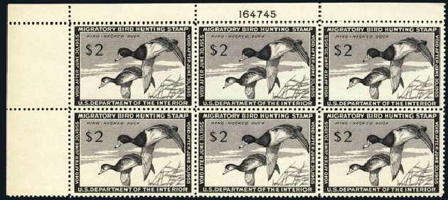 US Stamps Values Scott Cat. # RW21: US$2.00 1954 Federal Duck Hunting. Harmer-Schau Auction Galleries, Jun 2008, Sale 78, Lot 1821