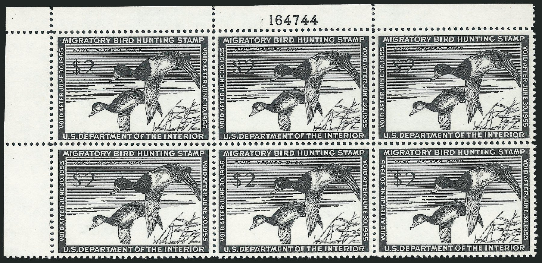 US Stamps Price Scott # RW21: 1954 US$2.00 Federal Duck Hunting. Robert Siegel Auction Galleries, Oct 2011, Sale 1014, Lot 2505