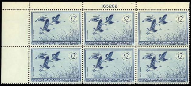 Prices of US Stamps Scott RW22 - 1955 US$2.00 Federal Duck Hunting. Daniel Kelleher Auctions, May 2014, Sale 653, Lot 2510
