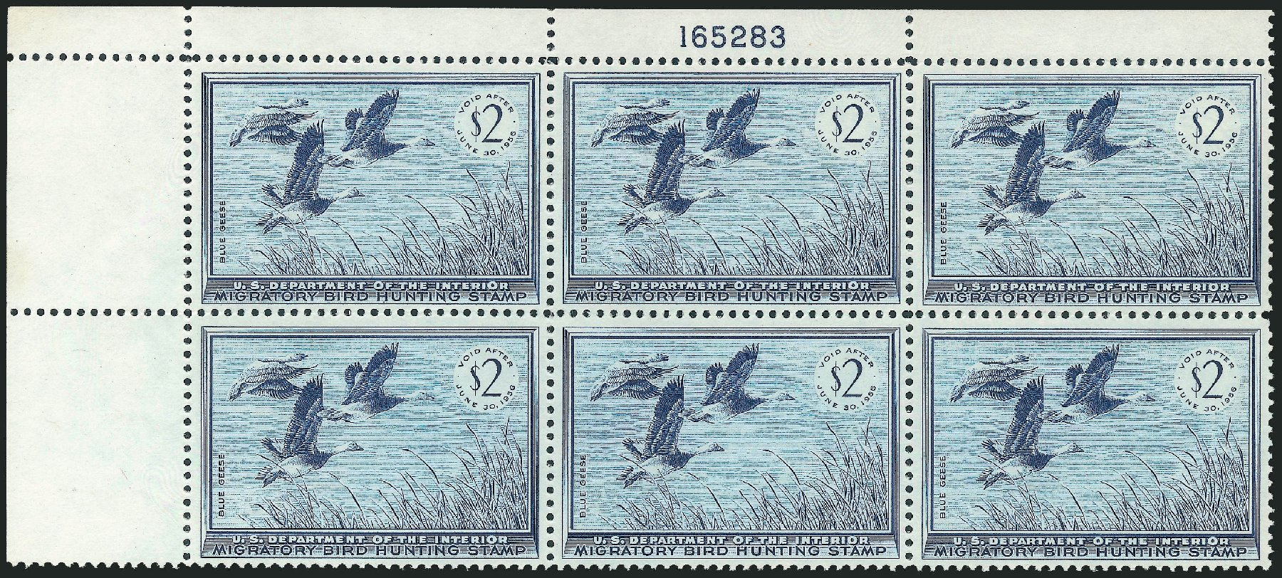 Costs of US Stamps Scott Catalogue # RW22: 1955 US$2.00 Federal Duck Hunting. Robert Siegel Auction Galleries, Nov 2013, Sale 1061, Lot 4525