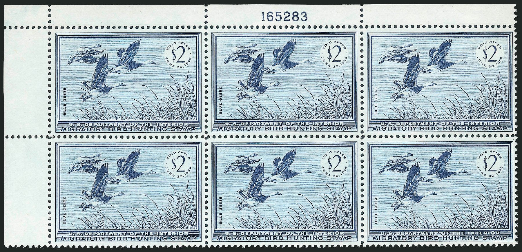 US Stamp Values Scott RW22: US$2.00 1955 Federal Duck Hunting. Robert Siegel Auction Galleries, Oct 2011, Sale 1014, Lot 2506