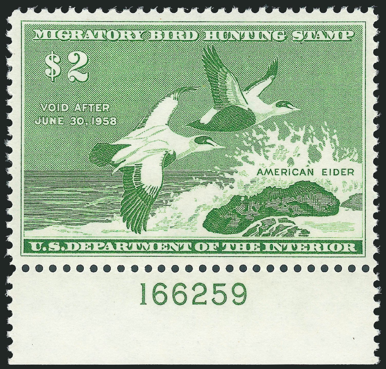 US Stamps Price Scott Catalog #RW24: US$2.00 1957 Federal Duck Hunting. Robert Siegel Auction Galleries, Nov 2013, Sale 1061, Lot 4527