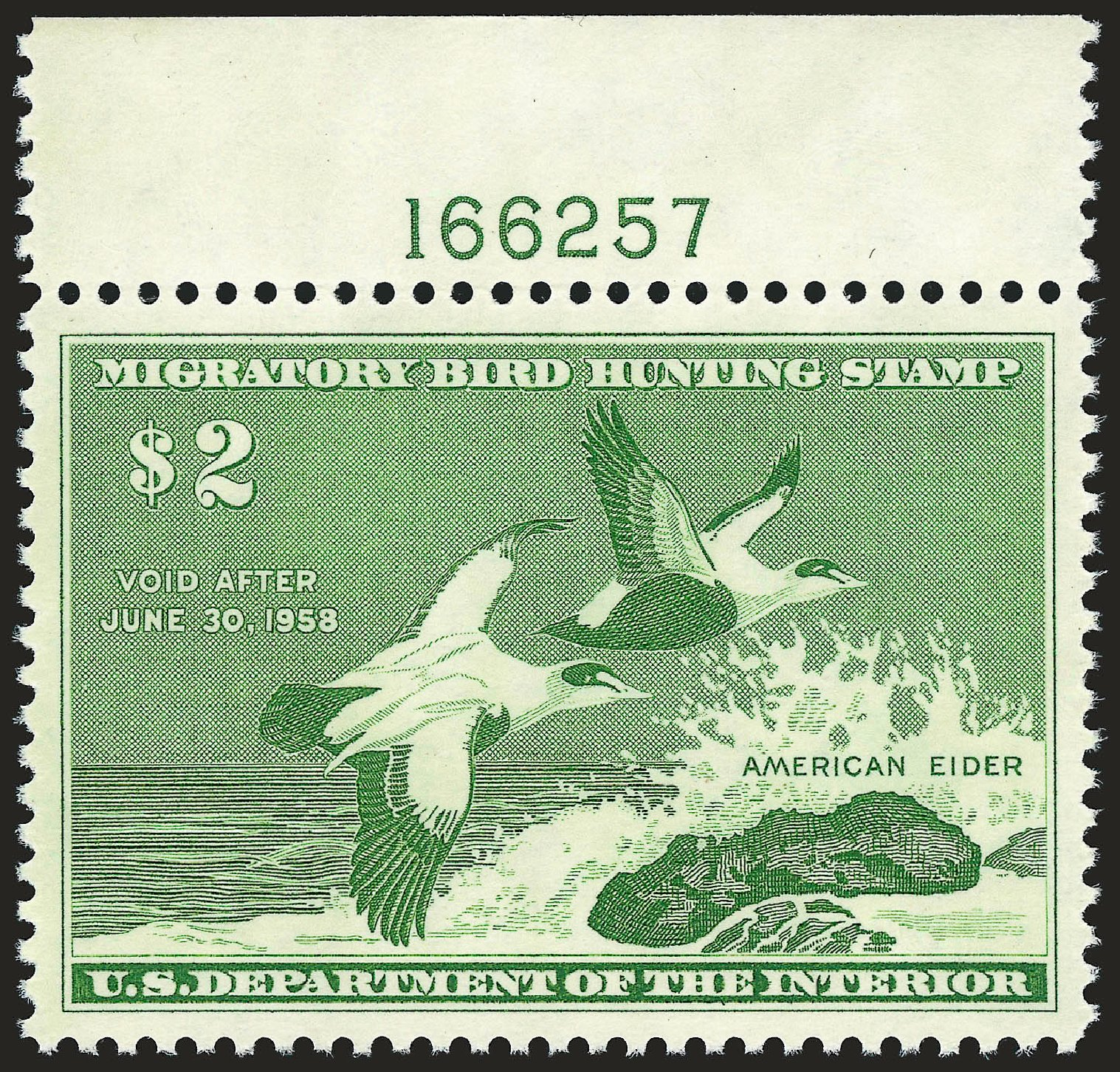 US Stamp Prices Scott Catalog #RW24 - 1957 US$2.00 Federal Duck Hunting. Robert Siegel Auction Galleries, Jun 2010, Sale 992, Lot 2697