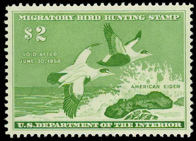 Value of US Stamp Scott #RW24 - US$2.00 1957 Federal Duck Hunting. Daniel Kelleher Auctions, Oct 2011, Sale 626, Lot 691