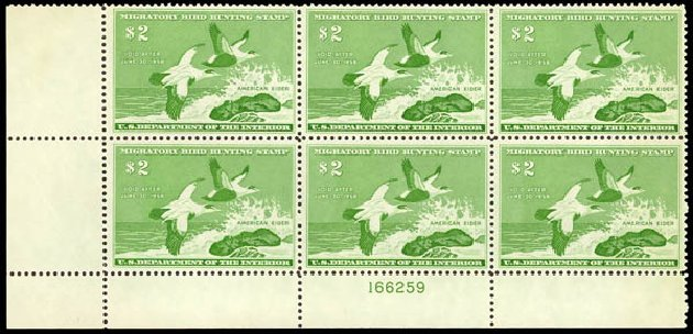 US Stamps Values Scott # RW24 - 1957 US$2.00 Federal Duck Hunting. Daniel Kelleher Auctions, Oct 2011, Sale 626, Lot 692
