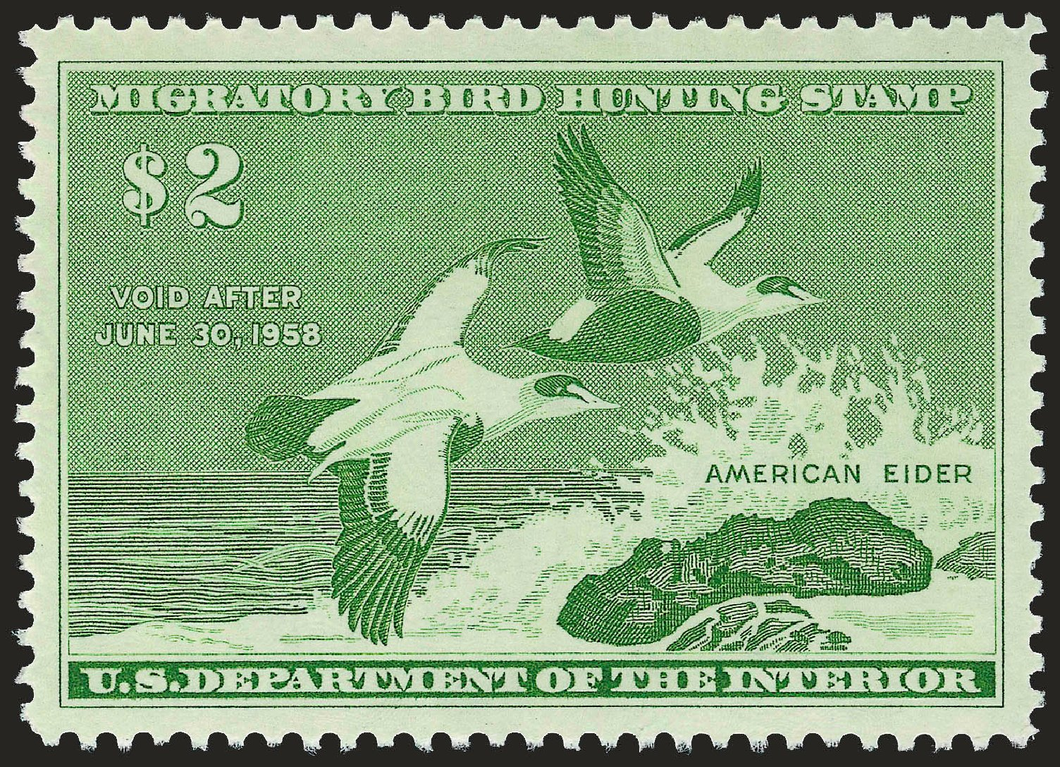 US Stamp Value Scott RW24: 1957 US$2.00 Federal Duck Hunting. Robert Siegel Auction Galleries, Dec 2008, Sale 967, Lot 5363