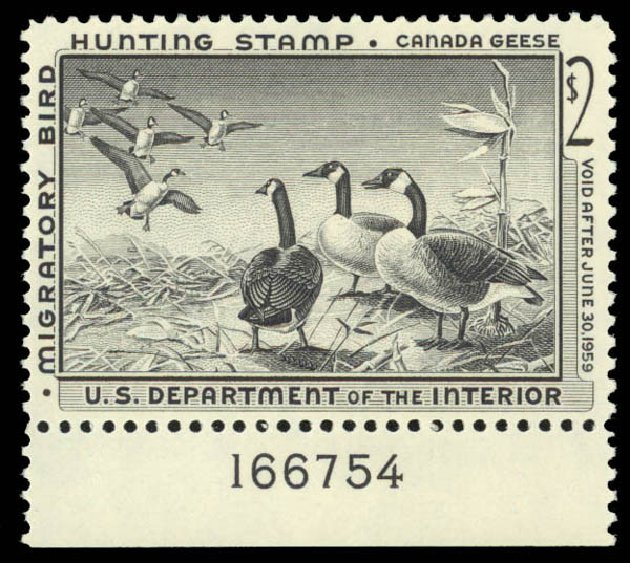 US Stamp Values Scott Catalogue #RW25 - US$2.00 1958 Federal Duck Hunting. Daniel Kelleher Auctions, May 2015, Sale 669, Lot 3598