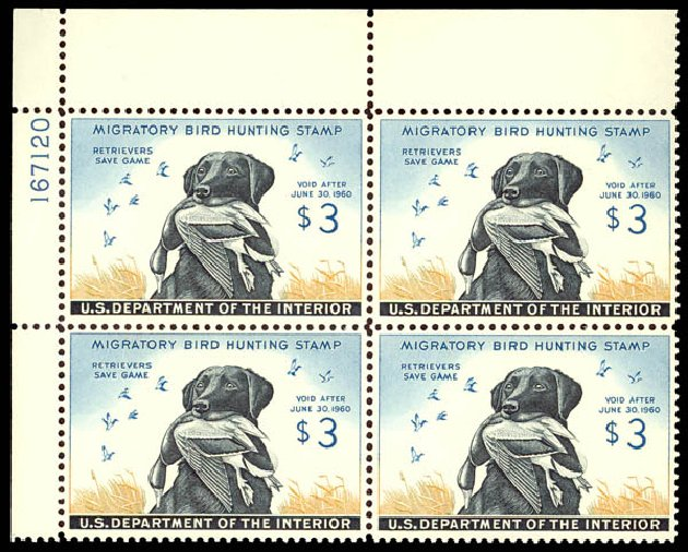 US Stamp Value Scott Catalogue # RW26: US$3.00 1959 Federal Duck Hunting. Daniel Kelleher Auctions, May 2014, Sale 652, Lot 1007