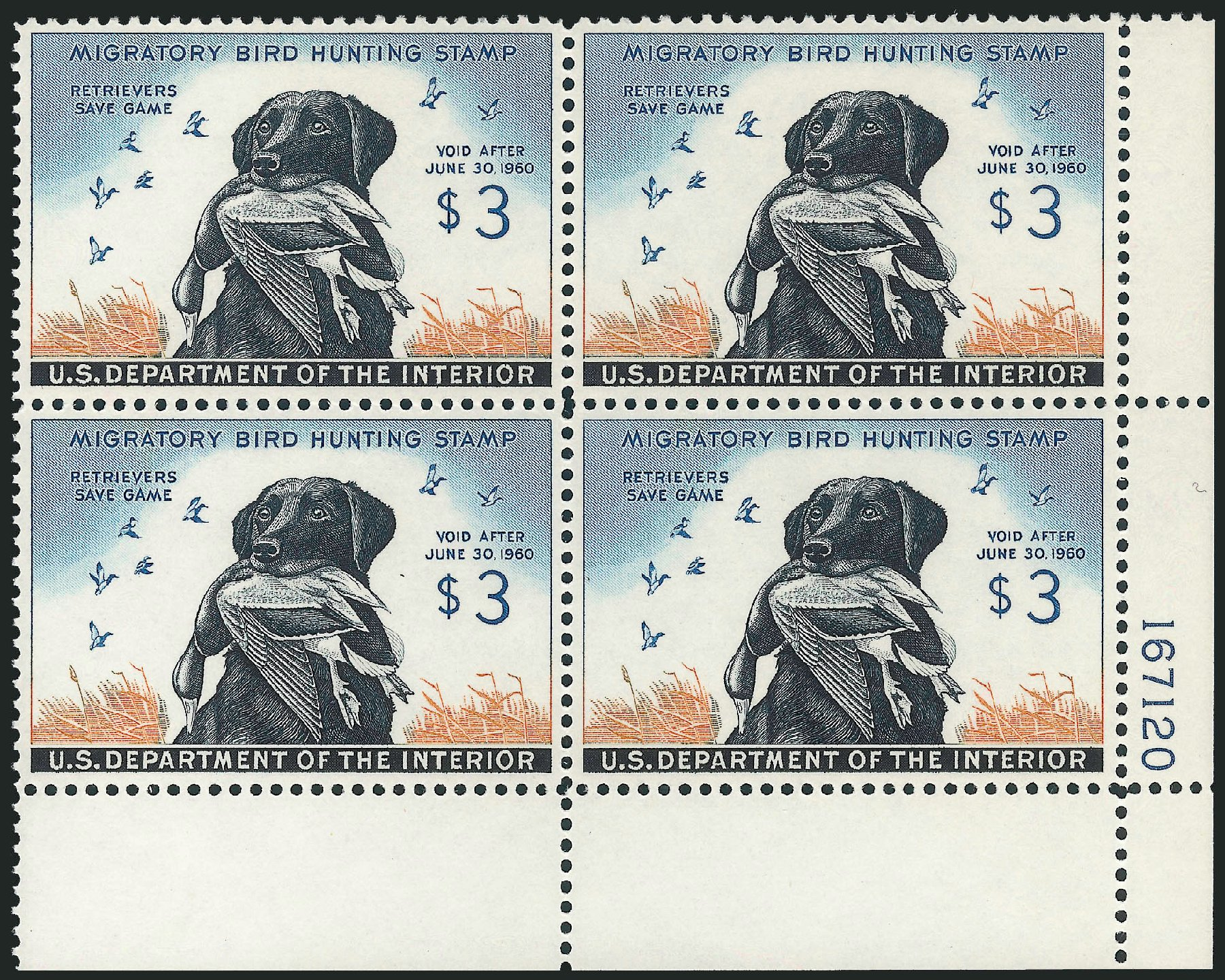 US Stamps Price Scott # RW26: US$3.00 1959 Federal Duck Hunting. Robert Siegel Auction Galleries, Nov 2013, Sale 1061, Lot 4528