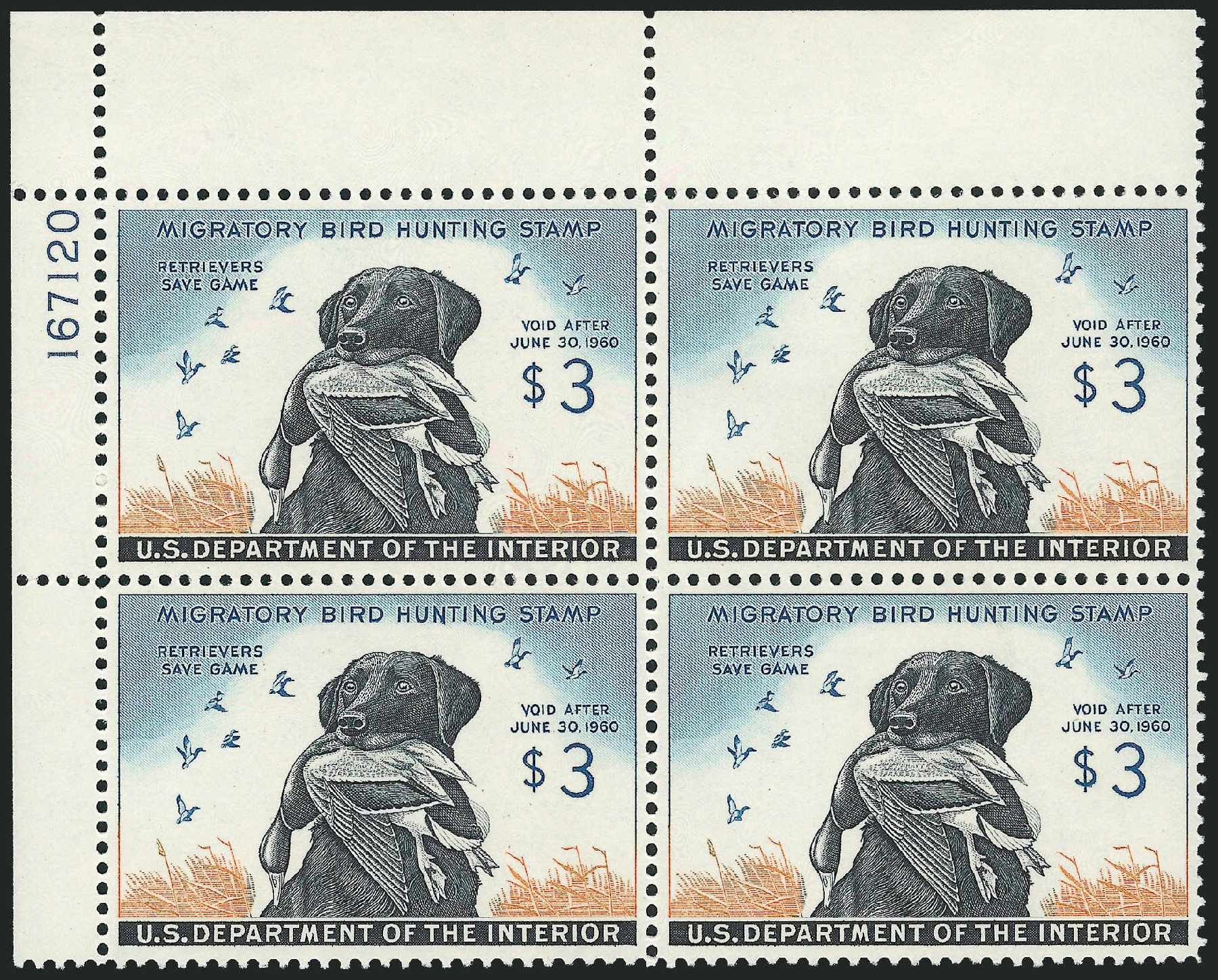 Costs of US Stamp Scott Cat. # RW26 - US$3.00 1959 Federal Duck Hunting. Robert Siegel Auction Galleries, Nov 2013, Sale 1061, Lot 4529