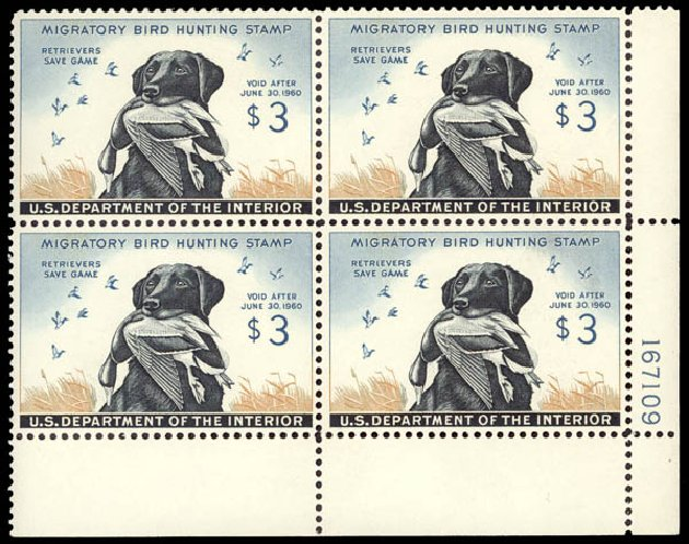 Value of US Stamps Scott Catalogue RW26 - 1959 US$3.00 Federal Duck Hunting. Daniel Kelleher Auctions, May 2015, Sale 669, Lot 3600