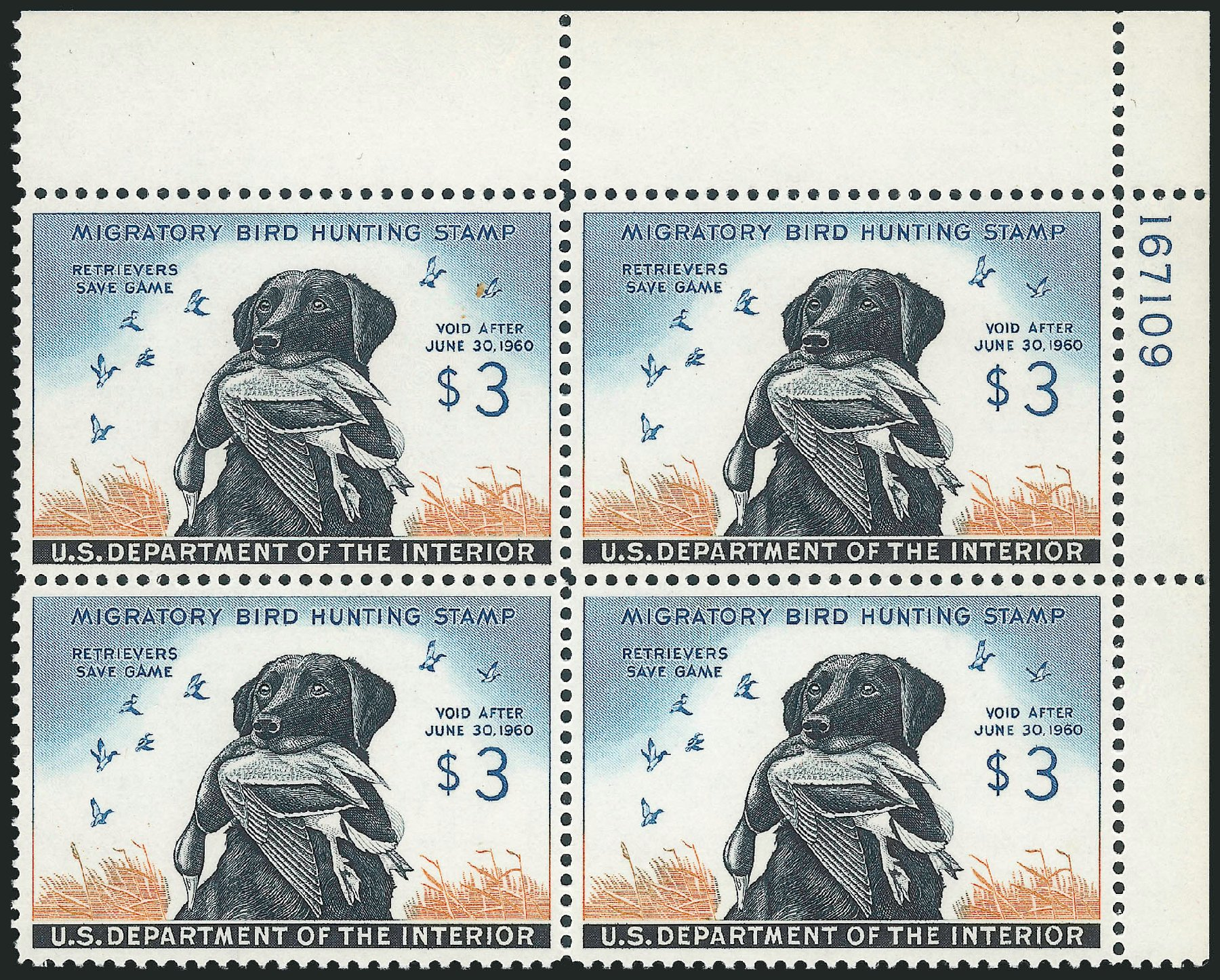 Cost of US Stamp Scott RW26: US$3.00 1959 Federal Duck Hunting. Robert Siegel Auction Galleries, Mar 2013, Sale 1040, Lot 2250