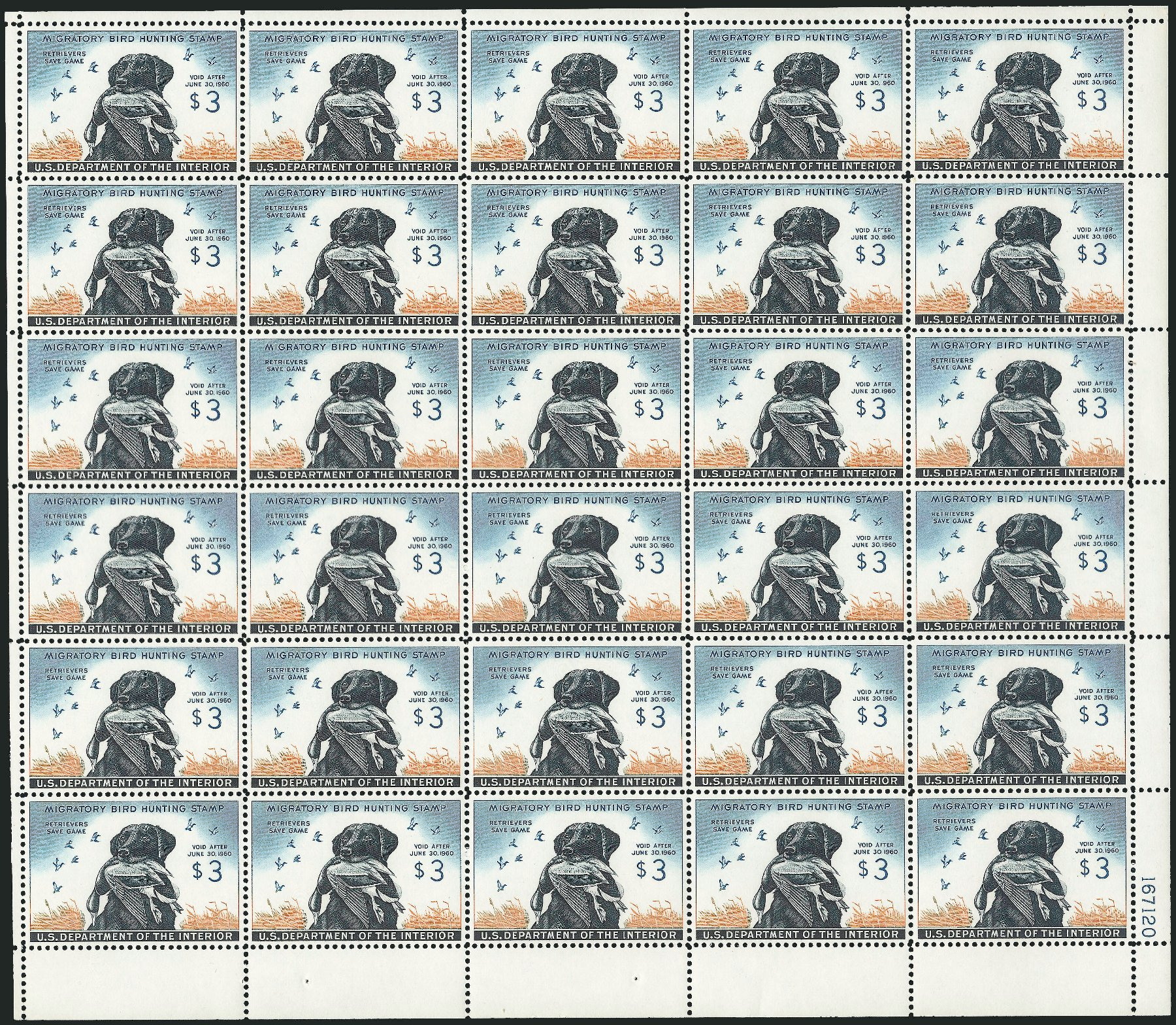 US Stamp Value Scott Catalog RW26: 1959 US$3.00 Federal Duck Hunting. Robert Siegel Auction Galleries, Feb 2015, Sale 1092, Lot 1541