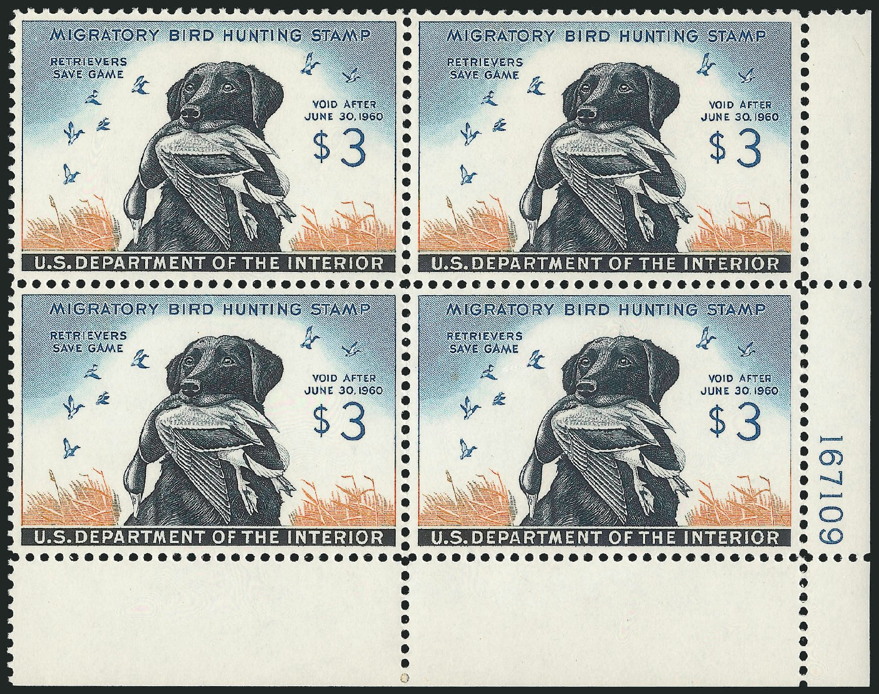 Prices of US Stamps Scott Catalog RW26 - US$3.00 1959 Federal Duck Hunting. Robert Siegel Auction Galleries, Feb 2015, Sale 1092, Lot 1535