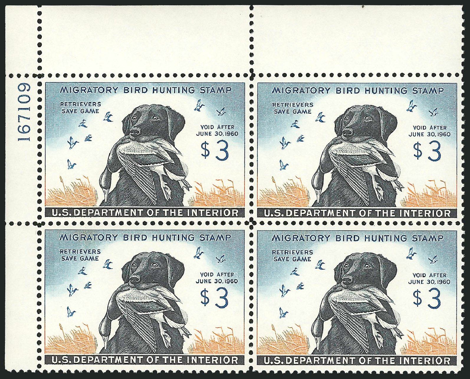 US Stamp Prices Scott Cat. #RW26 - 1959 US$3.00 Federal Duck Hunting. Robert Siegel Auction Galleries, Mar 2012, Sale 1019, Lot 1086