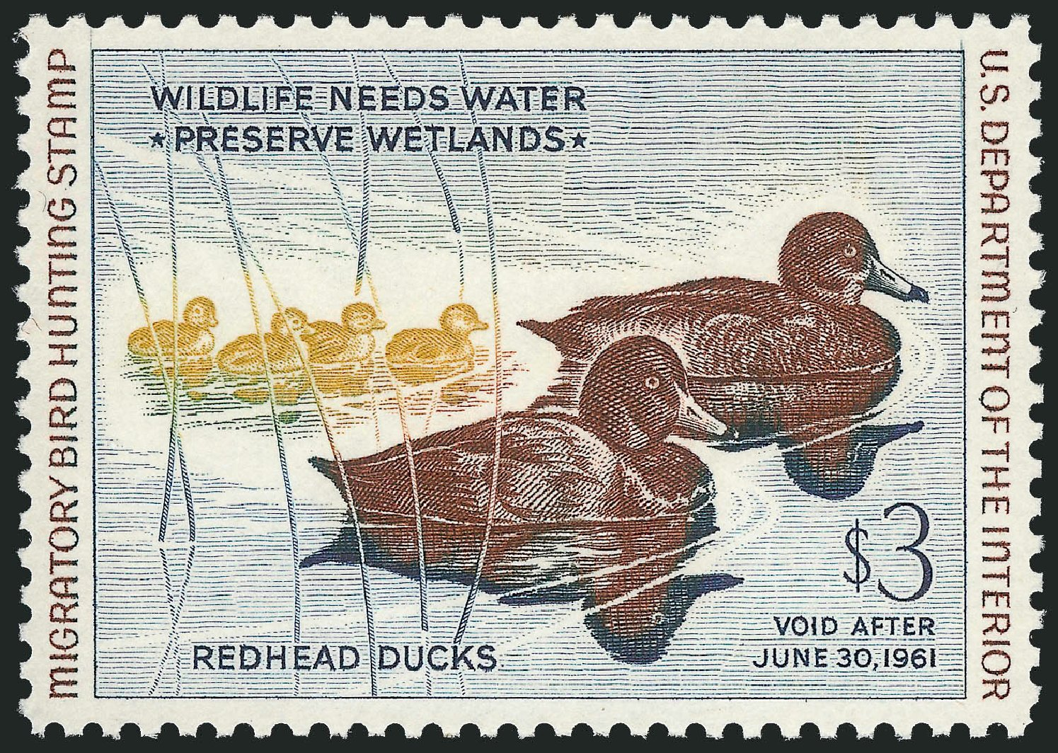 Prices of US Stamps Scott Catalogue RW27: US$3.00 1960 Federal Duck Hunting. Robert Siegel Auction Galleries, Mar 2014, Sale 1067, Lot 756